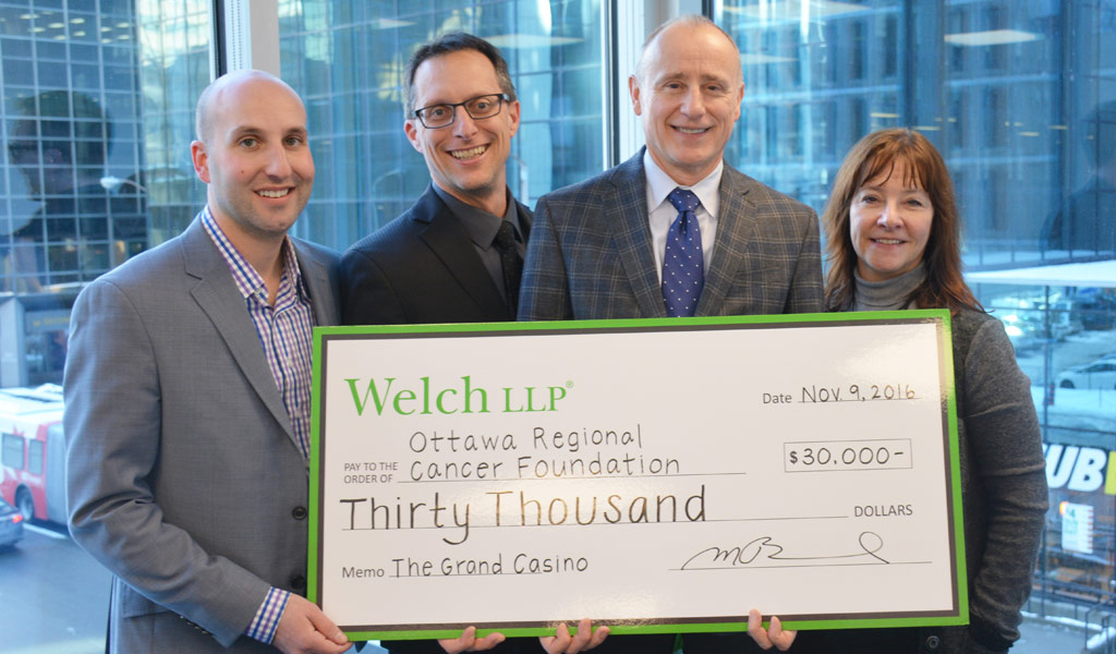 Welch LLP's Inaugural Grand Casino: Betting Against Cancer Raises $30,000 for the Ottawa Regional Cancer Foundation's Back to Work Program