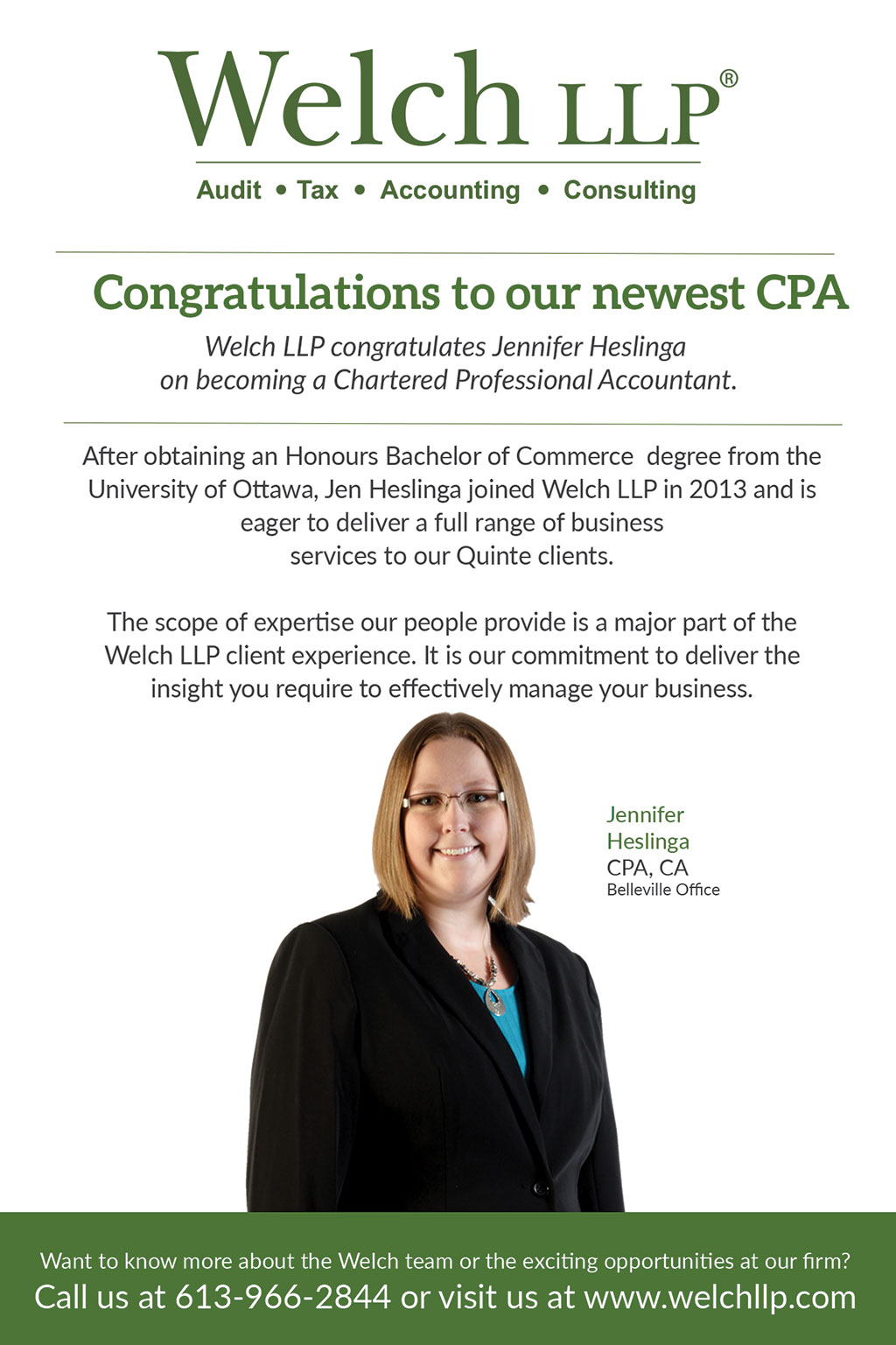 Congratulations to our newest CPA, Jennifer Heslinga