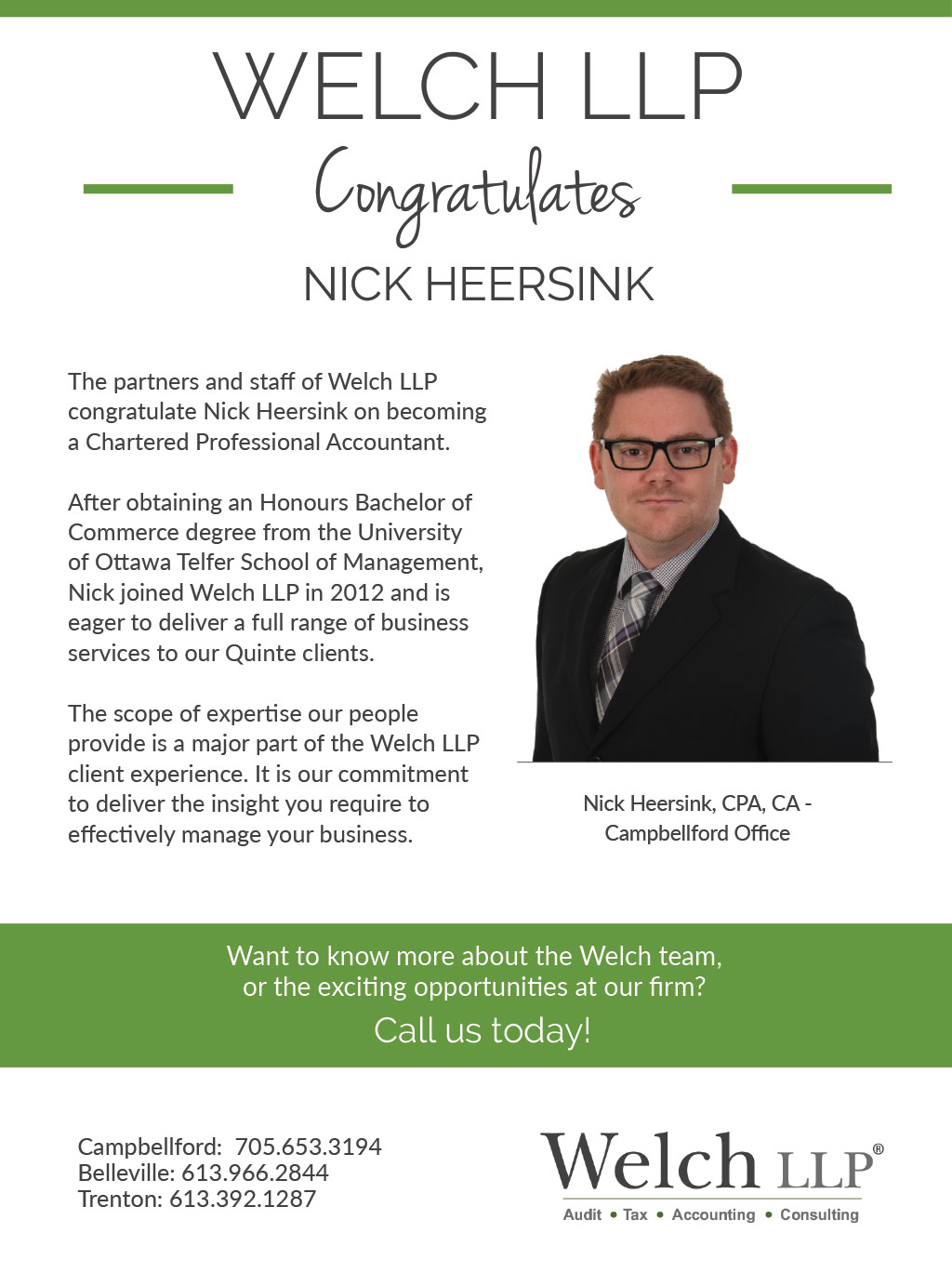 Congratulations to our newest CPA, Nick Heersink