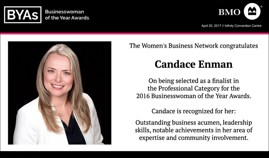 Candace Enman nominated as a finalist in the Businesswoman of the Year Awards (BYAs)