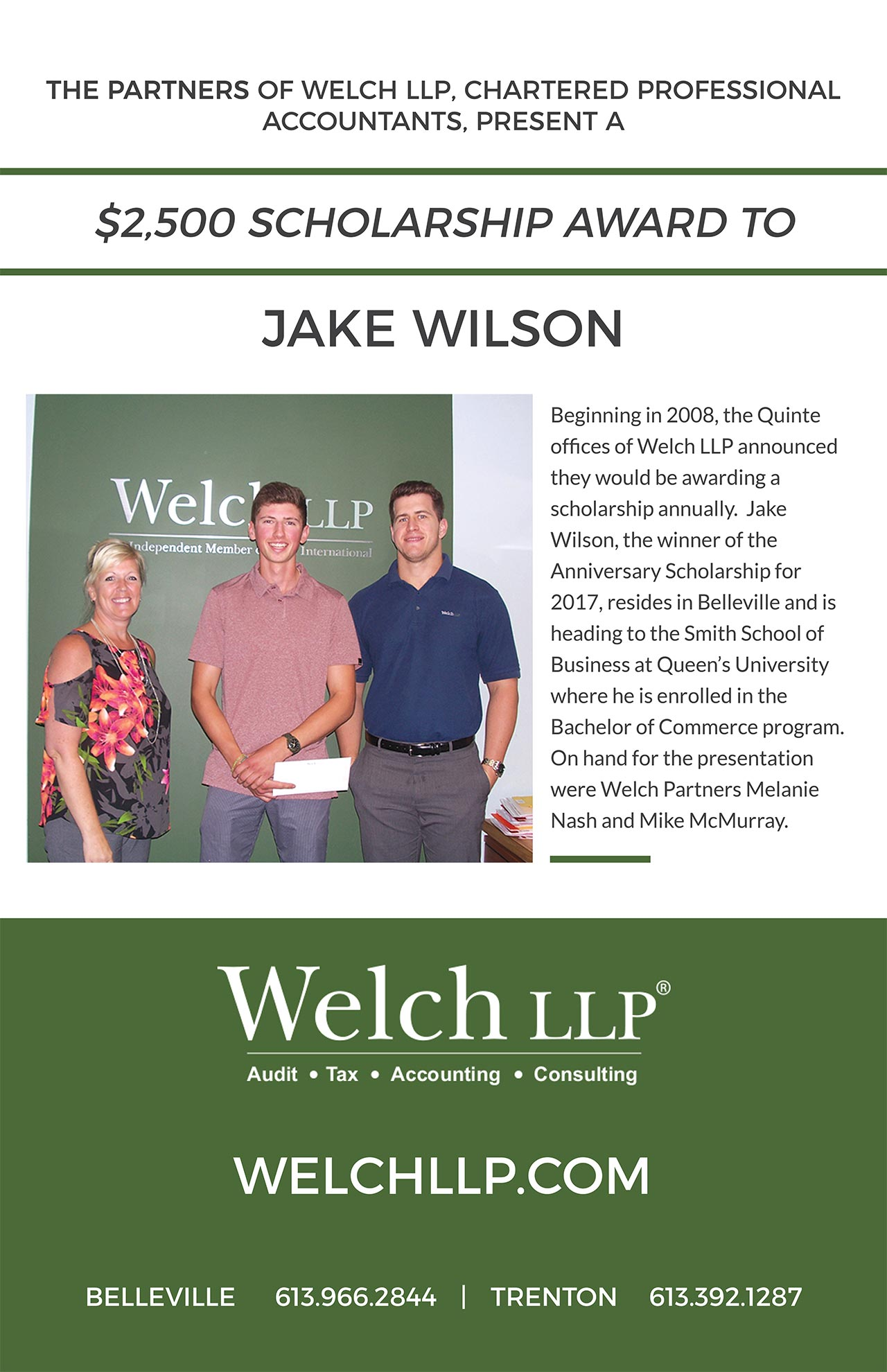 Welch LLP Partners present Jake Wilson a $2,500 scholarship