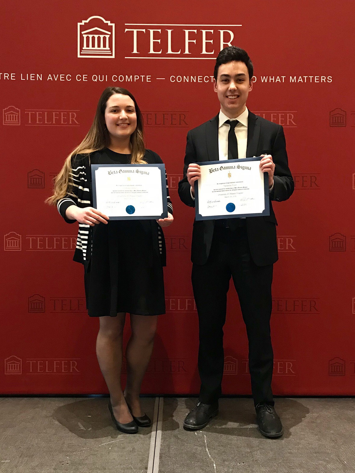 Congratulations to Lindsay and Terrence for being awarded entrance to the Beta Gamma Sigma Society