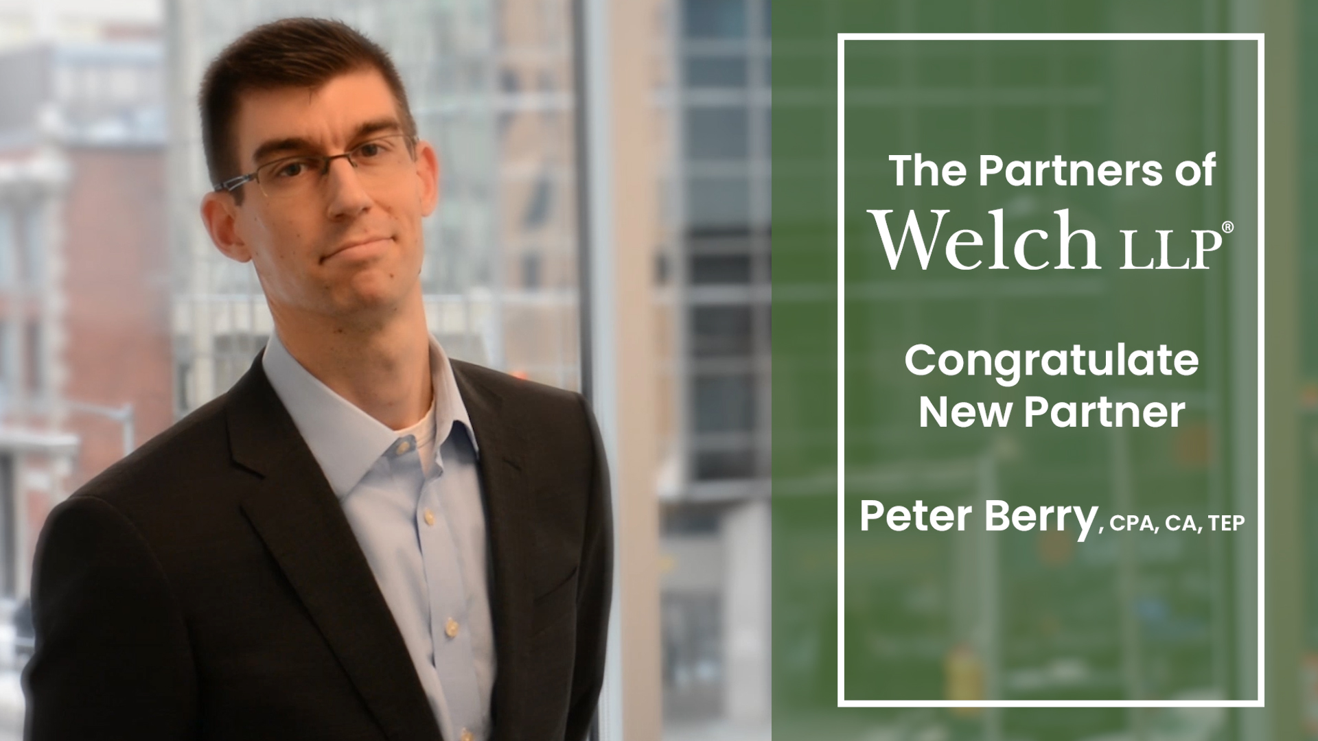 Peter Berry Welch LLP New Partner